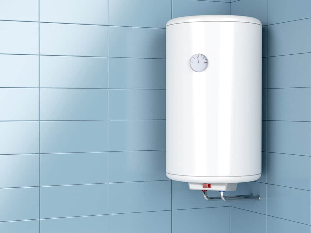 Electric heater on bathroom wall
