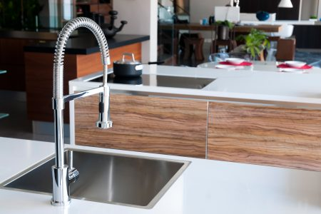 A pull down kitchen faucet