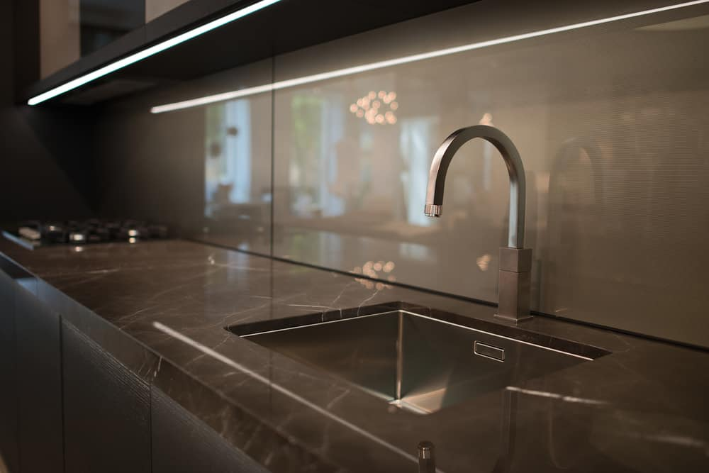 A touchless kitchen faucet