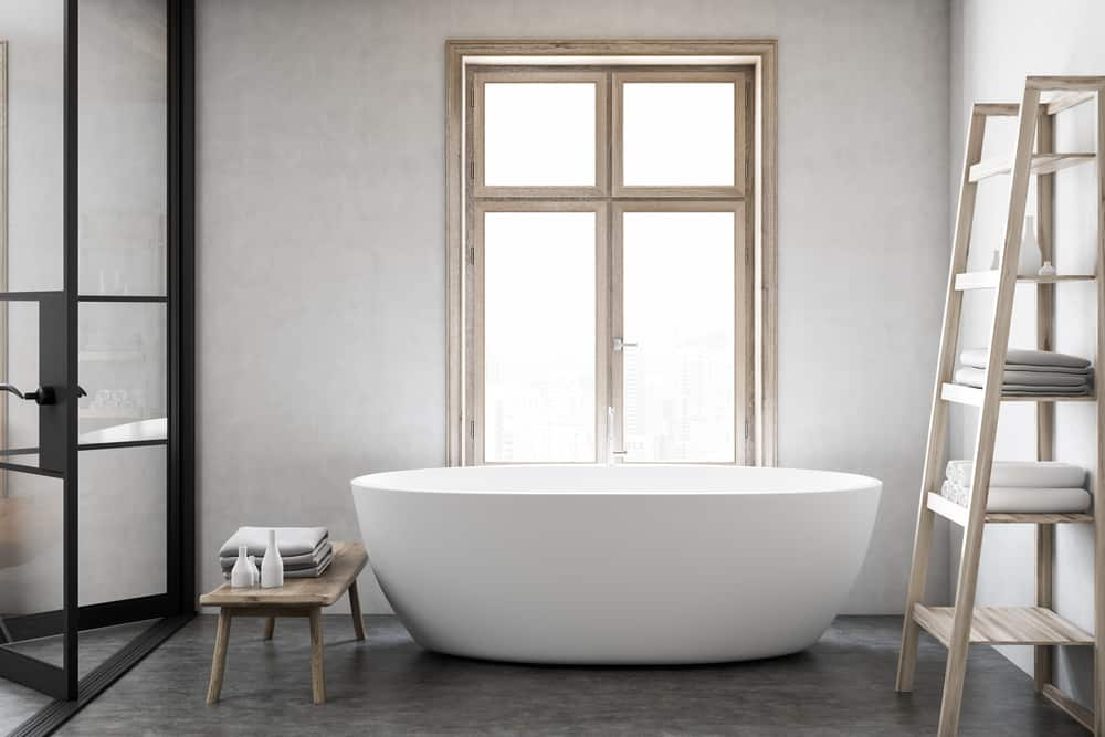 Freestanding tub in the bathroom