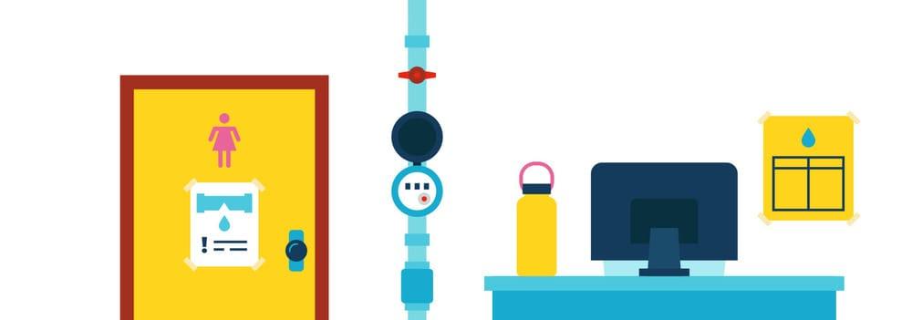 Post water-saving tips at common rooms