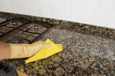 removing hard water stains from granite kitchen countertop