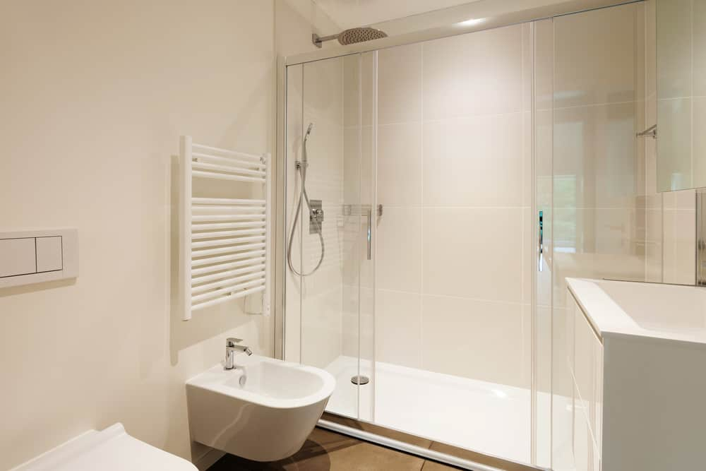 Bathroom with sliding shower door