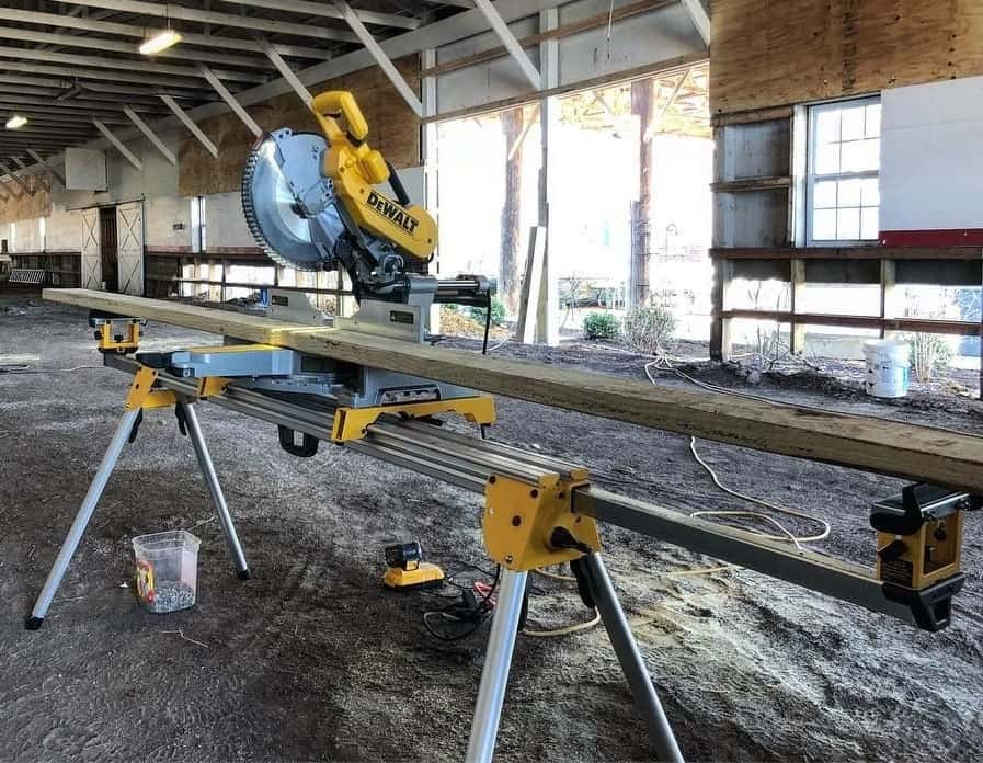 A miter saw stand in a construction stand