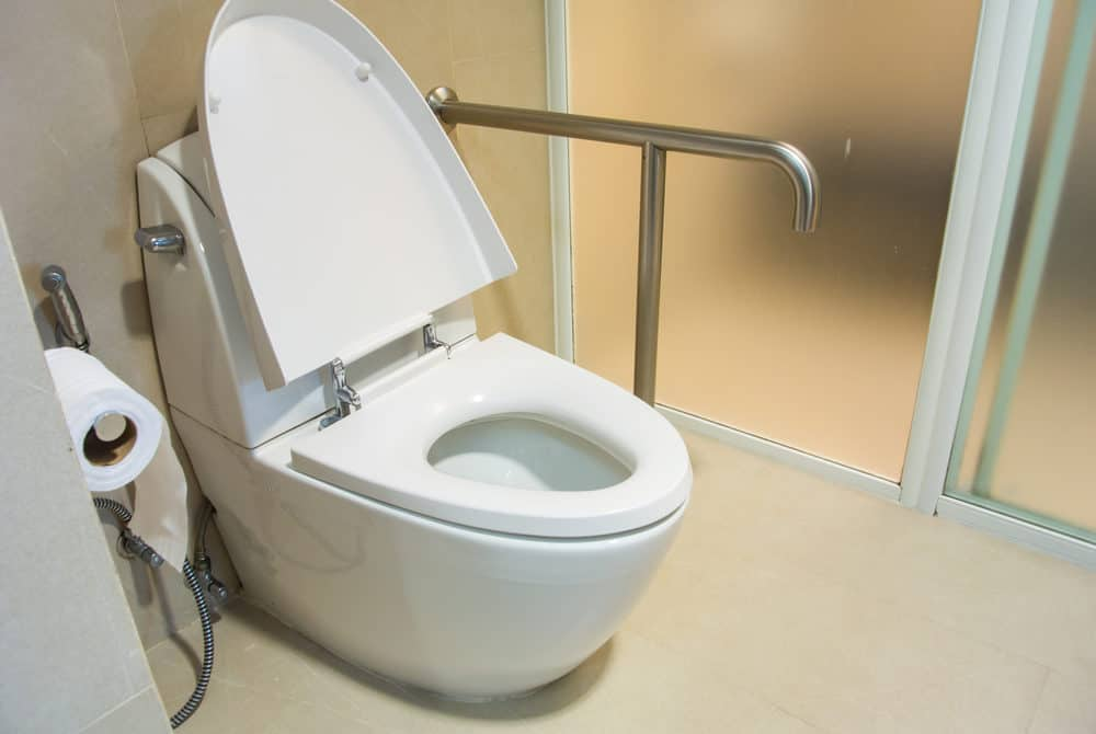 A comfort height toilet for disabled person
