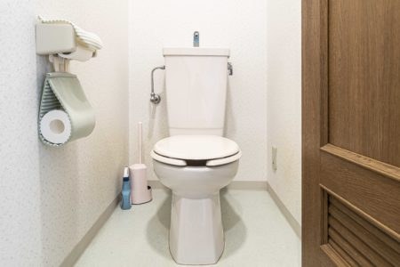A compact toilet in a small bathroom