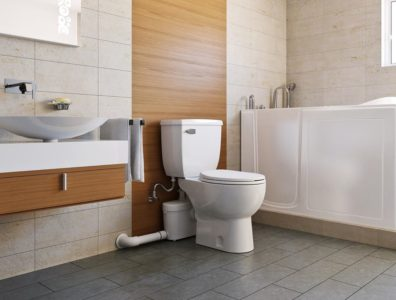 A macerating toilet in modern bathroom