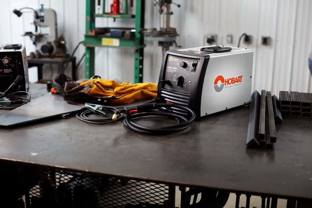 Portable welder on the table
