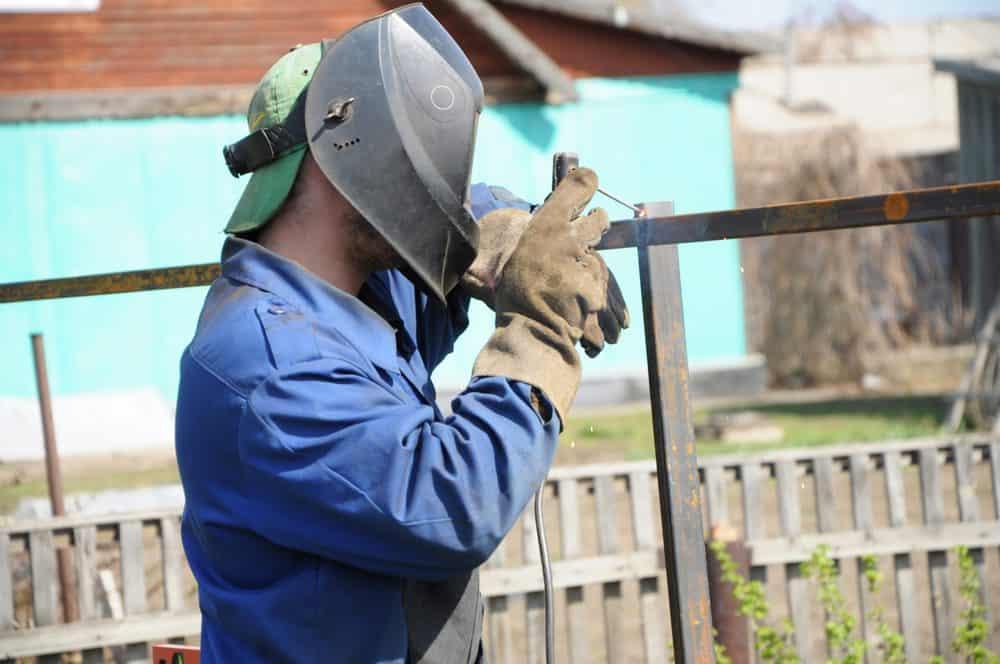 Welder wearing a welding cap