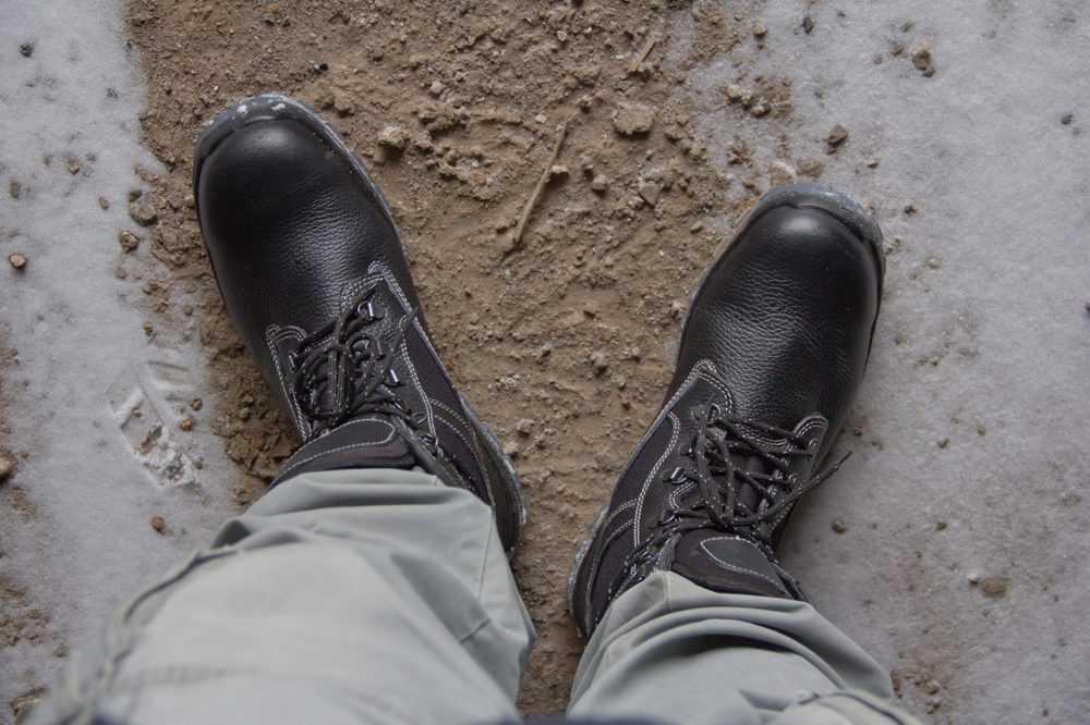 Man wearing welding work boots