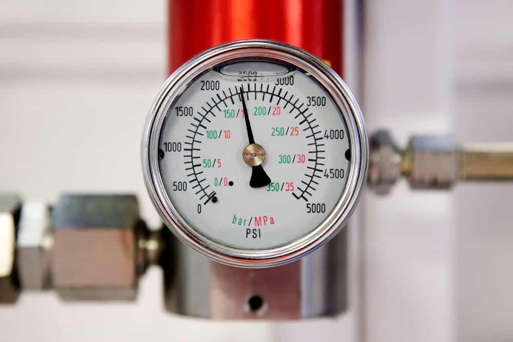 An air compressor pressure gauge
