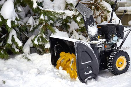 Close-up of a two-stage snow blower