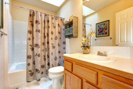 Bathroom interior with shower curtain