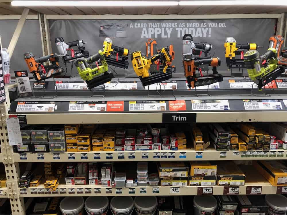 Power tools on a rack