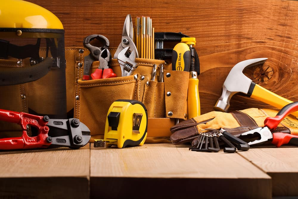 Set of tools in a workshop