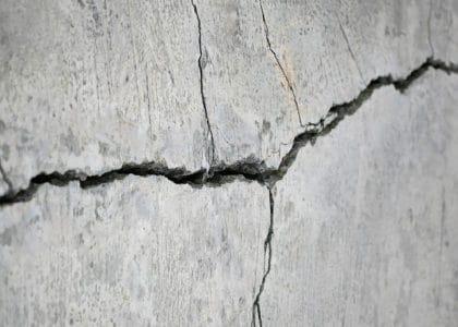 Close up of a concrete crack