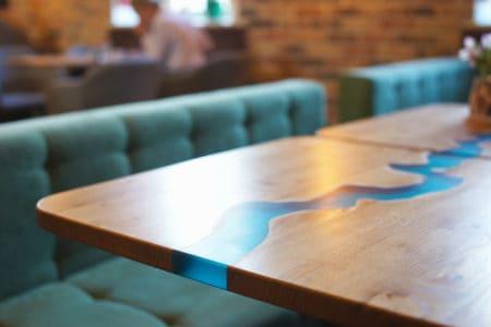 Wood and epoxy table