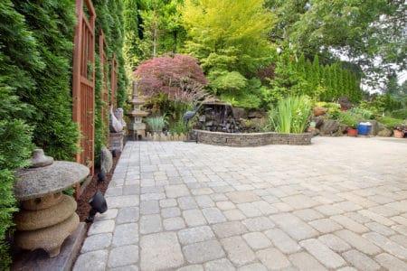 Asian inspired paver patio garden