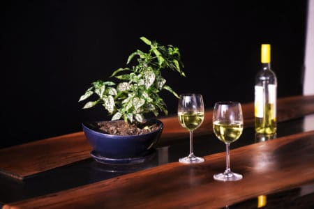 White wine served on a luxurious epoxy wooden table