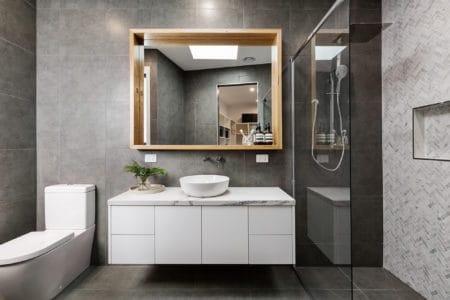 Modern designer bathroom with floating vanity