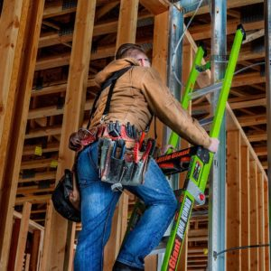 Man working on a telescoping ladder