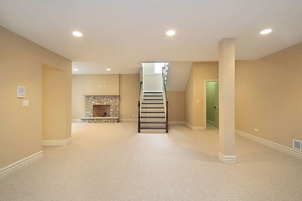 Basement with painted floor